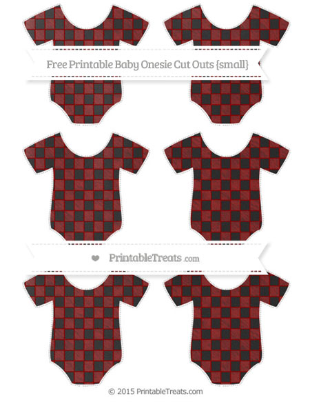 Free Dark Red Checker Pattern Chalk Style Small Baby Onesie Cut Outs