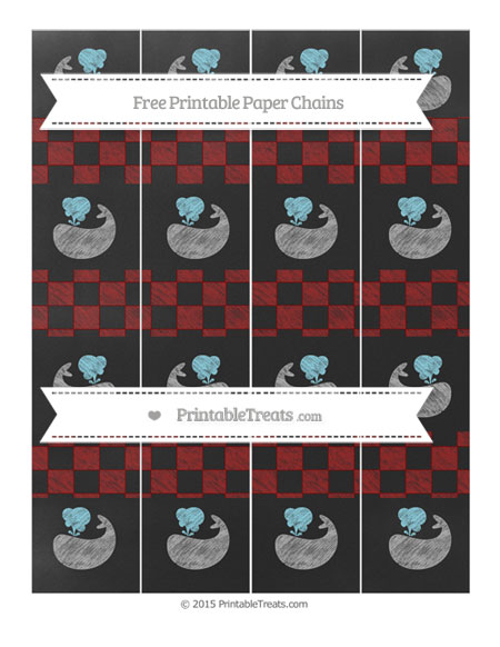 Free Dark Red Checker Pattern Chalk Style Whale Paper Chains
