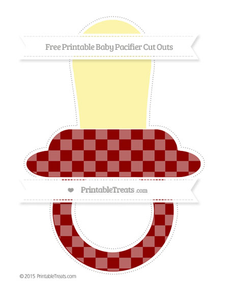 Free Dark Red Checker Pattern Extra Large Baby Pacifier Cut Outs