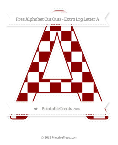 Free Dark Red Checker Pattern Extra Large Capital Letter A Cut Outs