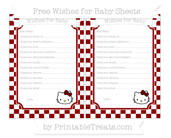 Free Dark Red Checker Pattern Hello Kitty Wishes for Baby Sheets