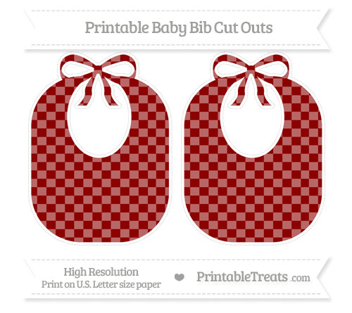 Free Dark Red Checker Pattern Large Baby Bib Cut Outs