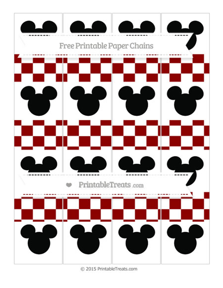 Free Dark Red Checker Pattern Mickey Mouse Paper Chains