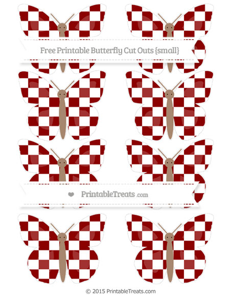 Free Dark Red Checker Pattern Small Butterfly Cut Outs
