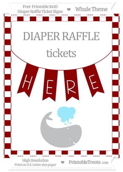 Free Dark Red Checker Pattern Whale 8x10 Diaper Raffle Ticket Sign