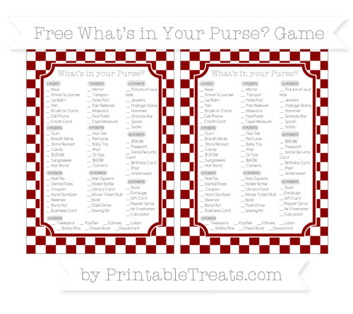 Free Dark Red Checker Pattern What's in Your Purse Baby Shower Game