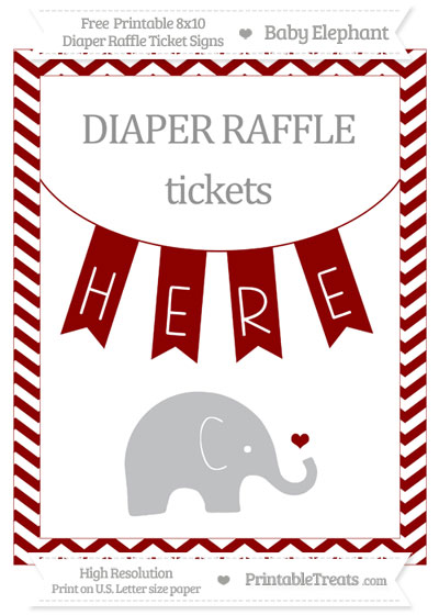 Free Dark Red Chevron Baby Elephant 8x10 Diaper Raffle Ticket Sign