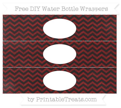 Free Dark Red Chevron Chalk Style DIY Water Bottle Wrappers