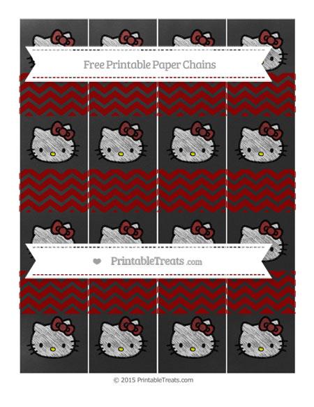 Free Dark Red Chevron Chalk Style Hello Kitty Paper Chains