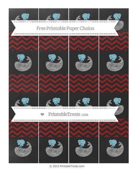 Free Dark Red Chevron Chalk Style Whale Paper Chains