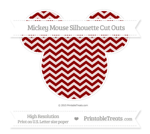 Free Dark Red Chevron Extra Large Mickey Mouse Silhouette Cut Outs