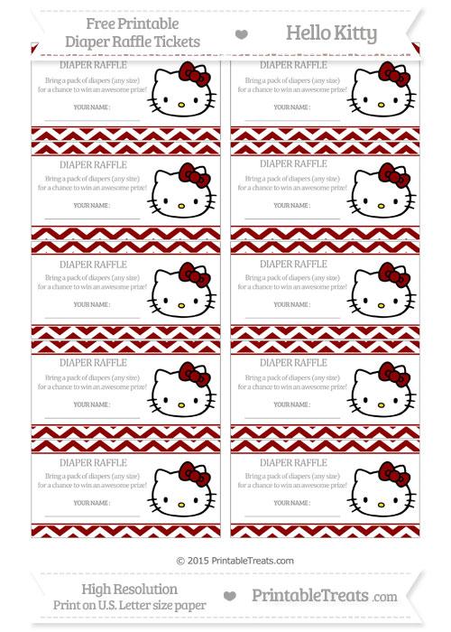 Free Dark Red Chevron Hello Kitty Diaper Raffle Tickets