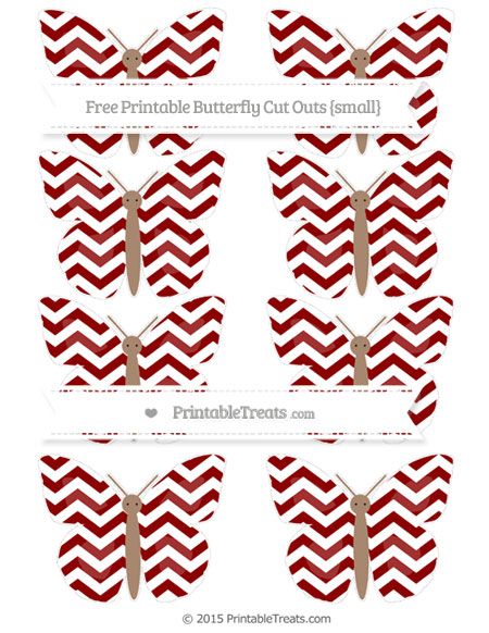 Free Dark Red Chevron Small Butterfly Cut Outs