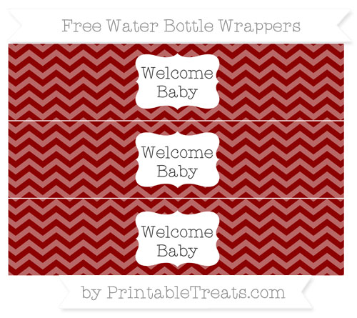 Free Dark Red Chevron Welcome Baby Water Bottle Wrappers