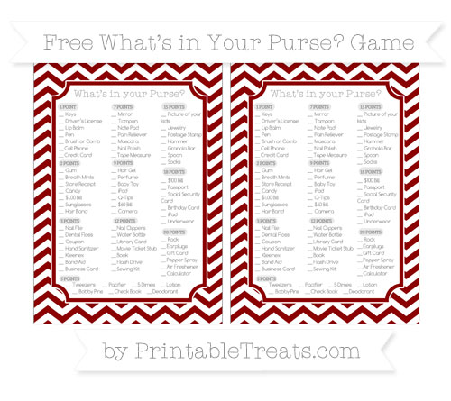 Free Dark Red Chevron What's in Your Purse Baby Shower Game