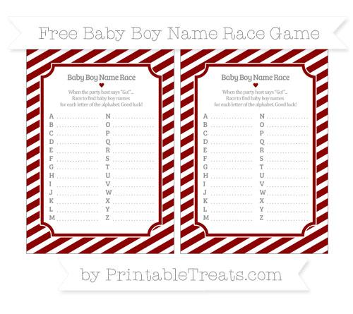 Free Dark Red Diagonal Striped Baby Boy Name Race Game