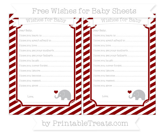 Free Dark Red Diagonal Striped Baby Elephant Wishes for Baby Sheets