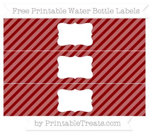 Free Dark Red Diagonal Striped Water Bottle Labels