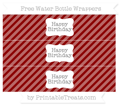 Free Dark Red Diagonal Striped Happy Birhtday Water Bottle Wrappers