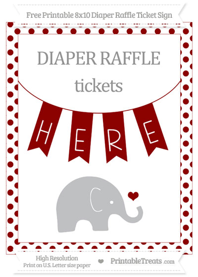 Free Dark Red Dotted Baby Elephant 8x10 Diaper Raffle Ticket Sign