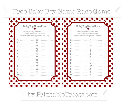 Free Dark Red Dotted Pattern Baby Boy Name Race Game