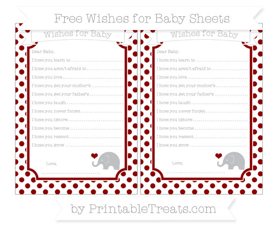 Free Dark Red Dotted Pattern Baby Elephant Wishes for Baby Sheets