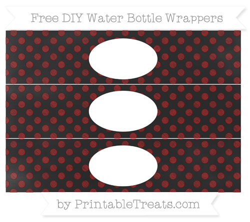 Free Dark Red Dotted Pattern Chalk Style DIY Water Bottle Wrappers
