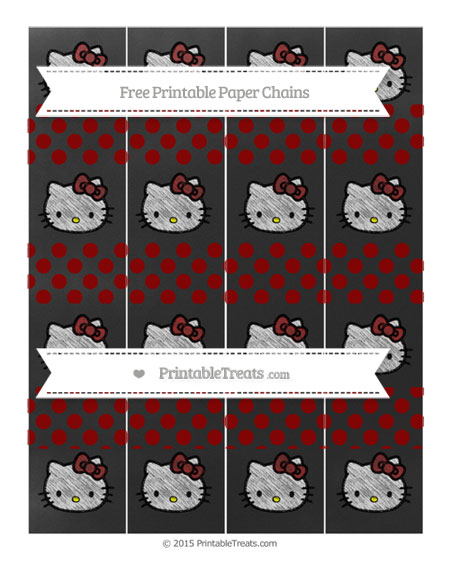 Free Dark Red Dotted Pattern Chalk Style Hello Kitty Paper Chains
