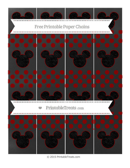 Free Dark Red Dotted Pattern Chalk Style Mickey Mouse Paper Chains
