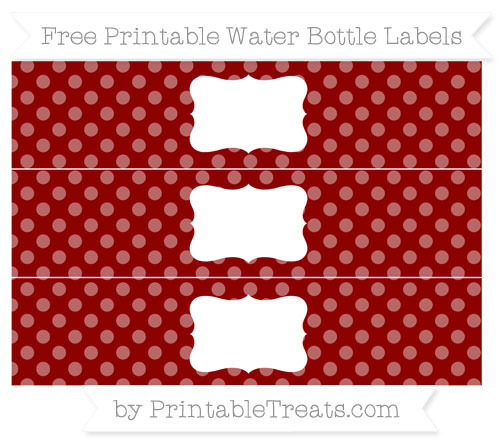 Free Dark Red Dotted Pattern Water Bottle Labels