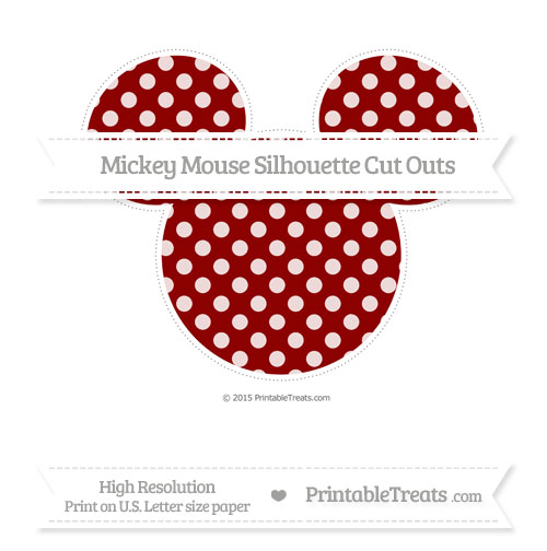 Free Dark Red Dotted Pattern Extra Large Mickey Mouse Silhouette Cut Outs