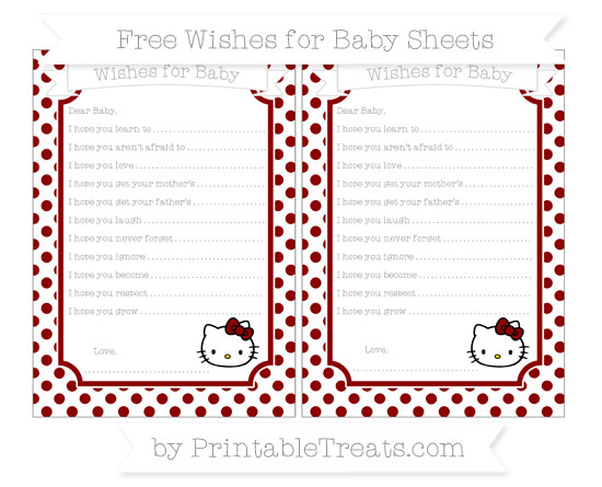 Free Dark Red Dotted Pattern Hello Kitty Wishes for Baby Sheets