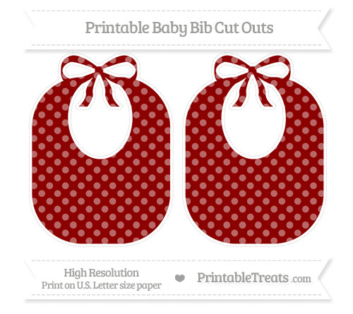 Free Dark Red Dotted Pattern Large Baby Bib Cut Outs