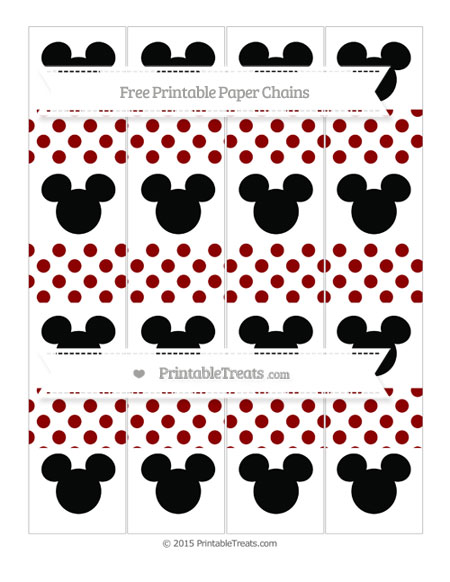 Free Dark Red Dotted Pattern Mickey Mouse Paper Chains