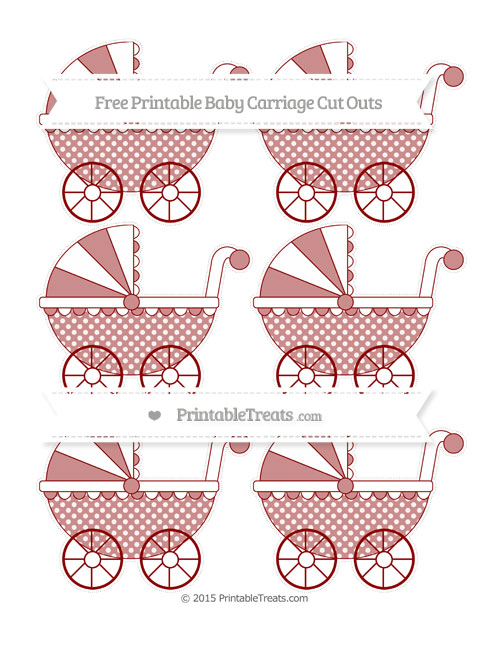 Free Dark Red Dotted Pattern Small Baby Carriage Cut Outs