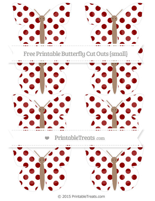Free Dark Red Dotted Pattern Small Butterfly Cut Outs