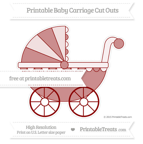 Free Dark Red Extra Large Baby Carriage Cut Outs