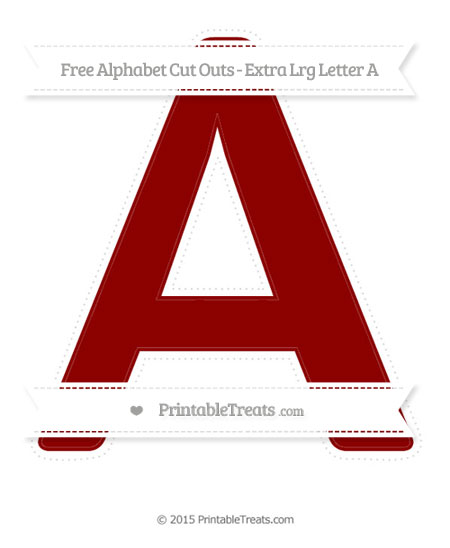 Free Dark Red Extra Large Capital Letter A Cut Outs