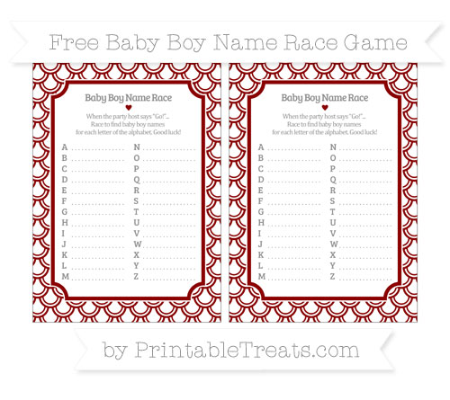 Free Dark Red Fish Scale Pattern Baby Boy Name Race Game