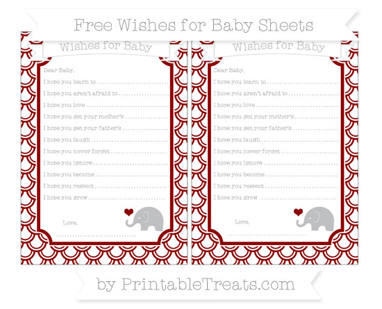 Free Dark Red Fish Scale Pattern Baby Elephant Wishes for Baby Sheets