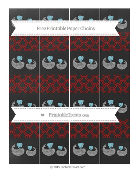 Free Dark Red Fish Scale Pattern Chalk Style Baby Whale Paper Chains