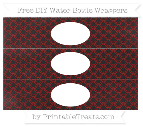 Free Dark Red Fish Scale Pattern Chalk Style DIY Water Bottle Wrappers