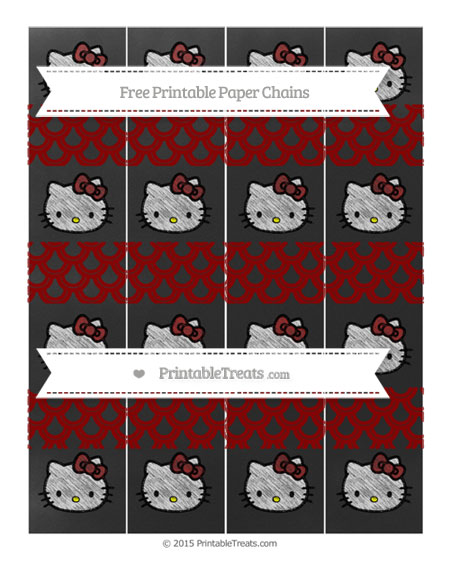 Free Dark Red Fish Scale Pattern Chalk Style Hello Kitty Paper Chains