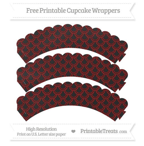 Free Dark Red Fish Scale Pattern Chalk Style Scalloped Cupcake Wrappers