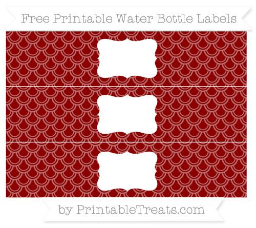Free Dark Red Fish Scale Pattern Water Bottle Labels