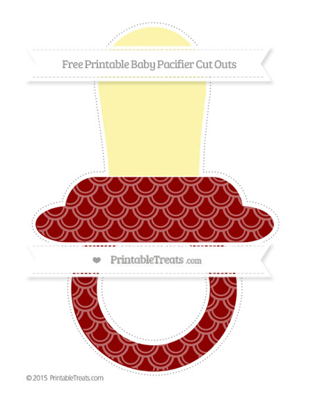 Free Dark Red Fish Scale Pattern Extra Large Baby Pacifier Cut Outs