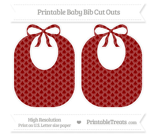Free Dark Red Fish Scale Pattern Large Baby Bib Cut Outs