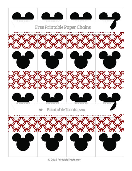 Free Dark Red Fish Scale Pattern Mickey Mouse Paper Chains