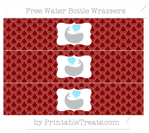 Free Dark Red Fish Scale Pattern Whale Water Bottle Wrappers