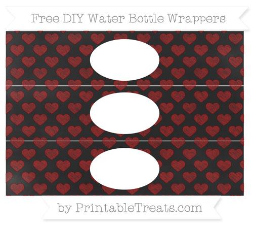 Free Dark Red Heart Pattern Chalk Style DIY Water Bottle Wrappers